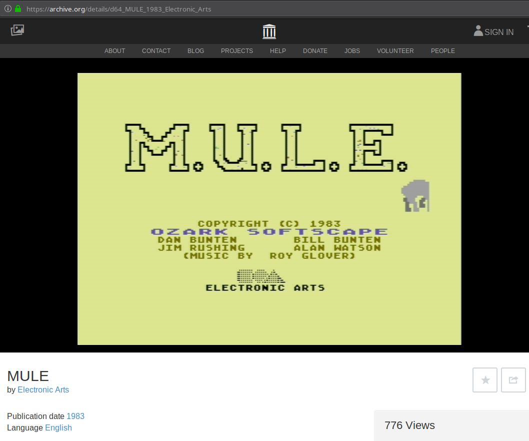 M U L E  for Commodore 64 (C64) – Carpe Ludum