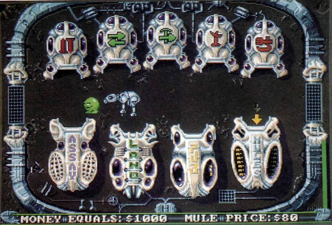 Deluxe M.U.L.E. Town screen